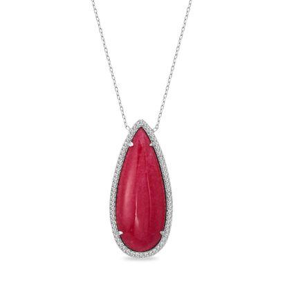 Imagen de Sterling Silver Cubic Zirconia Pink Enamel Tear Drop Pendant Cable Chain Necklace
