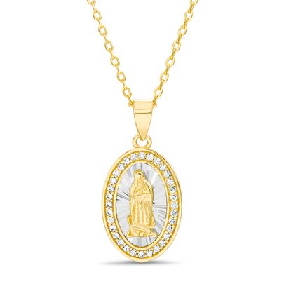 Imagen de Two-Tone Sterling Silver Cubic Zirconia Oval Religious Pendant Cable Chain Necklace