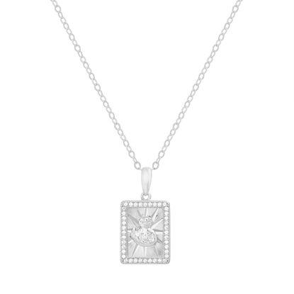 Imagen de Sterling Silver Cubic Zirconia Rectangular Religious Pendant Cable Chain Necklace