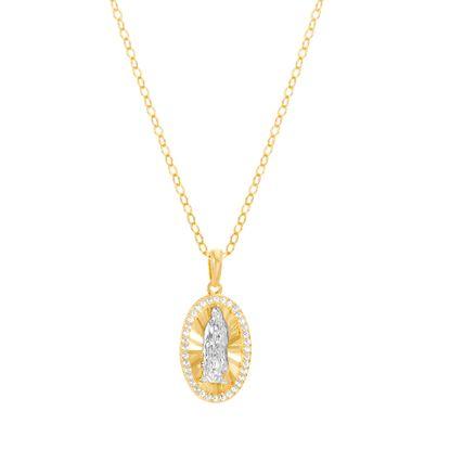 Imagen de Sterling Silver Cubic Zirconia Oval Shape Religious Pendant Cable Chain Necklace