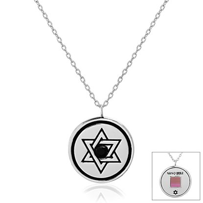 Imagen de Two-Tone Brass Star of David Round Disc Old Testament Nano My Bible Cable Chain Necklace