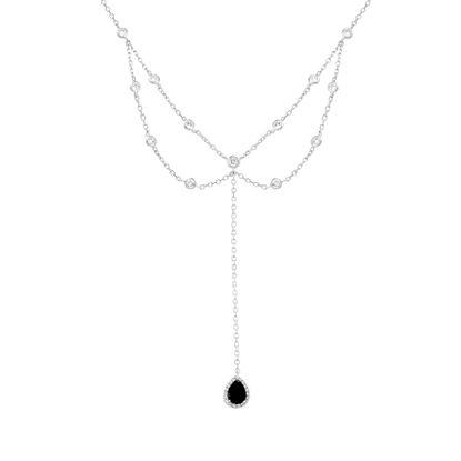 Imagen de Sterling Silver Bezel CZ Dangling Black Teardrop Double Layered Cable Chain Choker