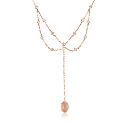 Imagen de Sterling Cubic Zirconia Clear/Pink Oval Simulated Stone Pendant Cable Chain Necklace