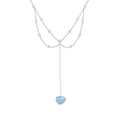 Imagen de Sterling Silver Cubic Zirconia Triangle Blue Opal/ Clear Layered Dangling Cable Chain Necklace