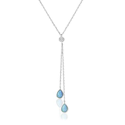 Imagen de Sterling Silver Cubic Zirconia Blue Opal Teardrops Shape Y Cable Chain Necklace