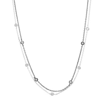 Imagen de Two-Tone Sterling Silver Bezel Cubic Zirconia Stations Double Layered 14 Cable Chain Necklace