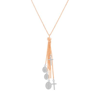 Imagen de Two-Tone Rose Sterling Silver Tassel Dangling Religious Charms 18 Cable Chain Necklace