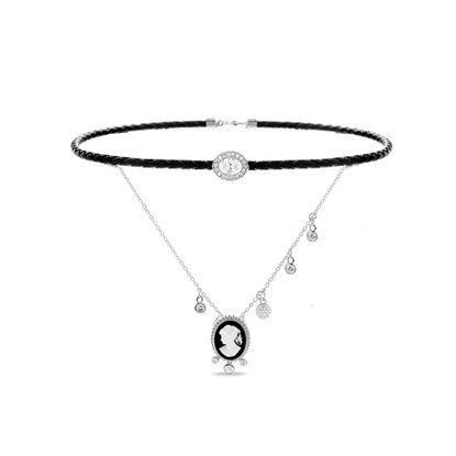 Imagen de Sterling Silver Cubic Zirconia Disc Charms Oval Cameo Pendant Double Layer Black Braided Leather/Cable Chain Choker