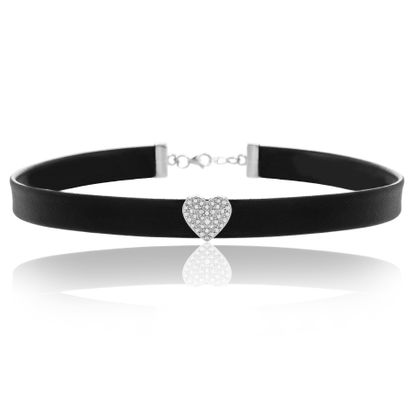 Picture of Sterling Silver Diamond Accent Heart Black Leather Choker Necklace