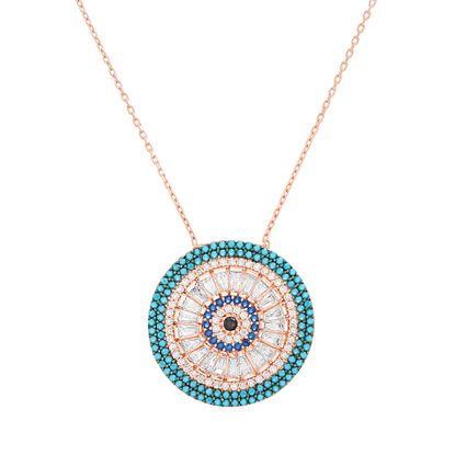 Imagen de Sterling Silver Multi-Color Cubic Zirconia Evil Eye Pendant 18 Cable Chain Necklace