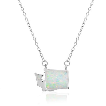Imagen de White Opal Washington State Outline Pendant on Cable Chain Necklace in Sterling Silver