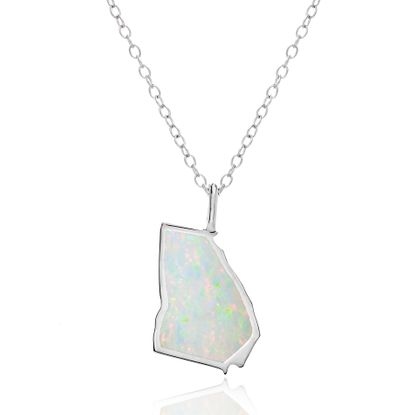 Imagen de White Opal Georgia Outline Pendant on Cable Chain Necklace in Sterling Silver