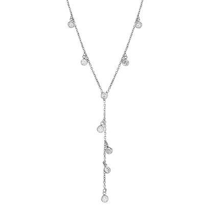 Imagen de Sterling Silver Dangling Bezel Cubic Zirconia Charms Cable Chain Necklace
