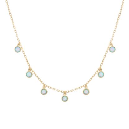 Imagen de Sterling Silver Dangling Blue Opal Charms Cable Chain Choker