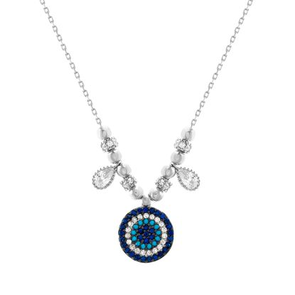Imagen de Sterling Silver Multi-Colored Cubic Zirconia Evil Eye Pendant Bezel Teardrop/Rondelle Charms Cable Chain Necklace