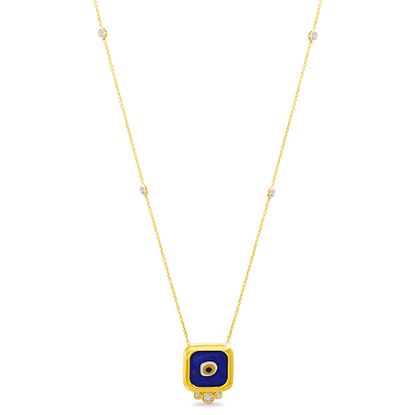 Imagen de Sterling Silver Cubic Zirconia Bezel Multicolored Enamel Evil Eye Station Cable Chain Necklace
