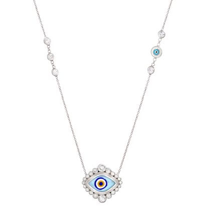 Imagen de Sterling Silver Cubic Zirconia Bezel Multicolored(Light Blue/Black/Yellow/White) Enamel Evil Eye Station Cable Chain Necklace
