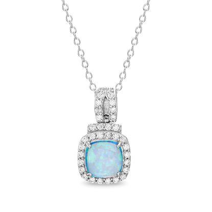 Imagen de Sterling Silver Blue Opal Cubic Zirconia Border Square Pendant Cable Chain Necklace