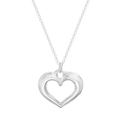 Picture of Sterling Silver Polished Heart Cable Chain Necklace