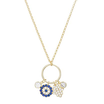Imagen de Sterling Silver Polished Ring Pendant Dangling Cubic Zirconia Disc/Hamsa Hand/Bezel Charms Cable Chain Necklace