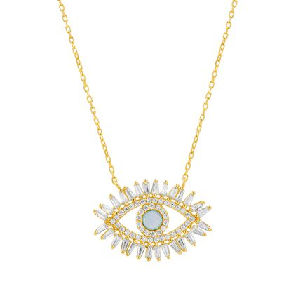 Imagen de Sterling Silver Baguette Cubic Zirconia Border Blue Opal Evil Eye Station Cable Chain Necklace