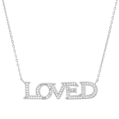 Imagen de Rose Plated Sterling Silver Multicolored Cubic Zirconia  LOVED Station Cable Chain Necklace