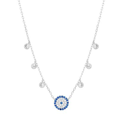 Imagen de Blue & Genuine Cubic Zirconia Evil Eye Necklace in Sterling Silver