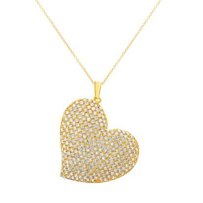 Imagen de Brass Pave Cubic Zirconia Heart Pendant Cable Chain Necklace