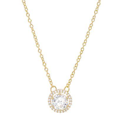 Imagen de Cubic Zirconia Halo Necklace in Gold over Brass