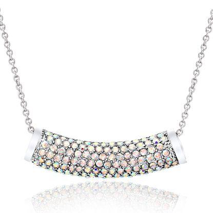 Imagen de Silver-Tone Brass Aurora Borealis Cubic Zirconia Curve Slide Cable Chain Necklace