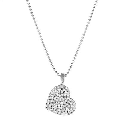 Picture of Sterling Silver Pave Cubic Zirconia Heart with QR-Code on back Pendant 18 Cable Chain Necklace
