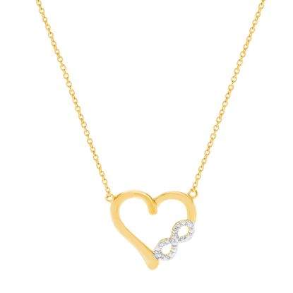 Imagen de Diamond Accent Infinity Heart Pendant Necklace in Gold over Brass