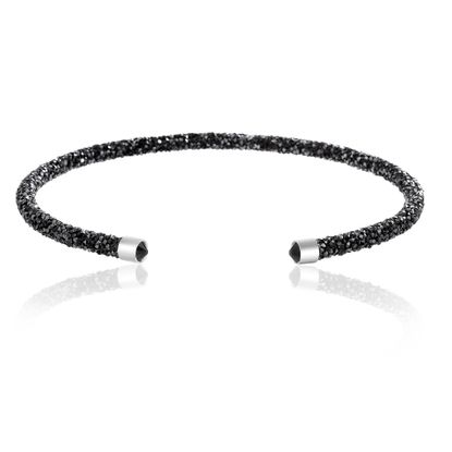 Imagen de Silver-Tone Brass Black Crystal Wrapped Open Collar Necklace