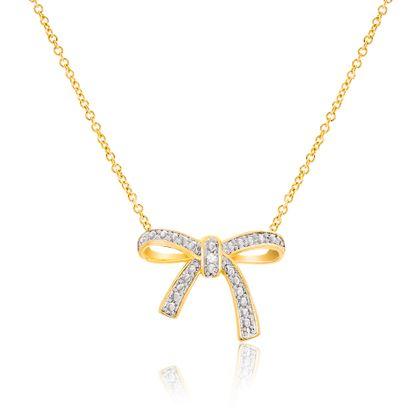 Imagen de Two-Tone Brass Diamond Accent Bow Design Pendant Cable Chain Necklace