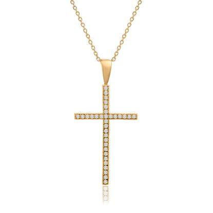 Imagen de Gold Plated Brass Cubic Zirconia Cross Pendant Cable Chain Necklace
