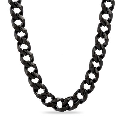 Imagen de Black-Tone Stainless Steel Men's 24 Curb Chain Necklace