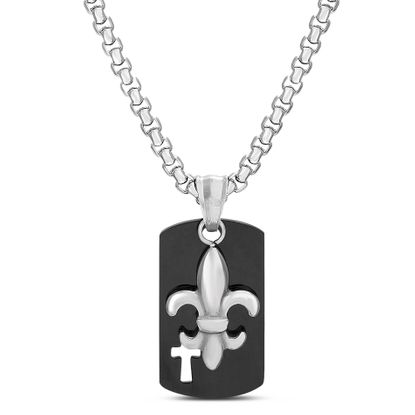 Imagen de Men's Two-Tone Stainless Steel  Dog tag Box Chain