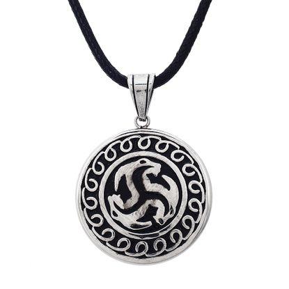 Imagen de Silver-Tone Stainless Steel Mens Black Enamel Triple Deer Head Design Disc Pendant 22+2 Black Leather Cord Necklace