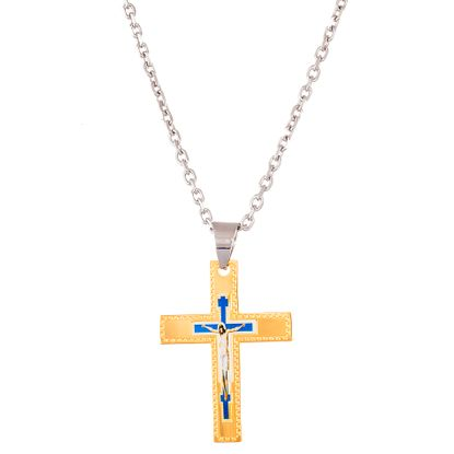Picture of Two-Tone Stainless Steel Men's Religious Cross Necklace
