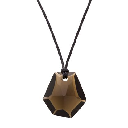 Imagen de Silver-Tone Stainless Steel Black Hexagon Pear Shaped Stone 16+2 Black Cord Necklace