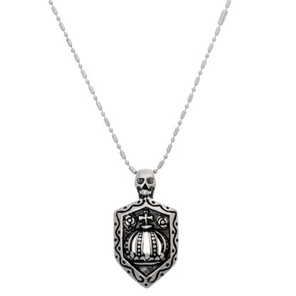 Imagen de Skull/Cross/Crown Shield Necklace in Stainless Steel
