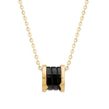 Imagen de Gold-Tone Stainless Steel Center Black Enamel Gold Trim Rondelle Cable Chain Necklace