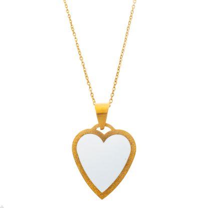 Imagen de Gold-Tone Stainless Steel White Enamel Heart Pendant 18 Cable Chain Necklace
