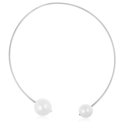 Imagen de Silver-Tone Stainless Steel IP White Fresh Water Pearl Ends Collar Necklace