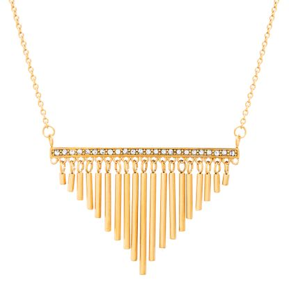 Imagen de Gold-Tone Stainless Steel Cubic Zirconia Bar Pendant with Dangling Bar Fringe 26+2 Cable Chain Necklace