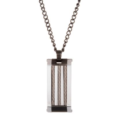 Imagen de Two-Tone Stainless Steel Wire Deisgn Mens Necklace