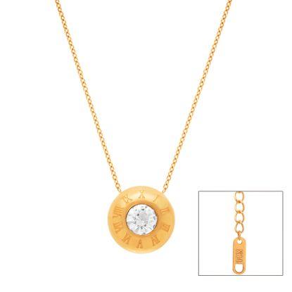 Imagen de Gold-Tone Stainless Steel Cubic Zirconia Center Roman Numeral Edge Convex Disc Necklace
