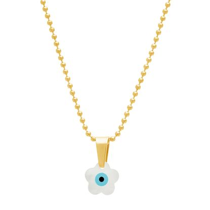 Imagen de Gold-Tone Stainless Steel Freshwater Pearl Evil Eye Flower Pendant 16+2 Ball Chain Necklace