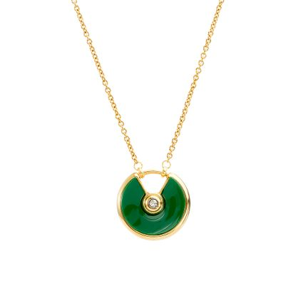 Imagen de Gold-Tone Stainless Bezel Green Center with White Cubic Zirconia and Round Open Design Ring Necklace