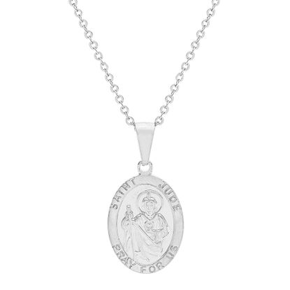 Imagen de Silver-Tone Stainless Steel Oval Religious Disc Necklace